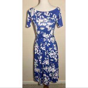 Yumi Kim Blue Floral Silk Wrap Belted Midi Dress